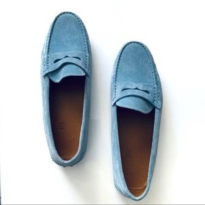 Pianigiani suede blue loafer leather made in Italy